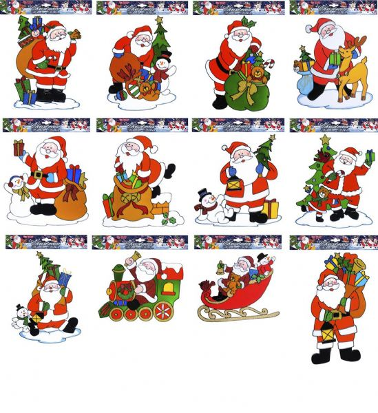 Window Stickers - Santa Claus - 12 Styles Christmas Decoration